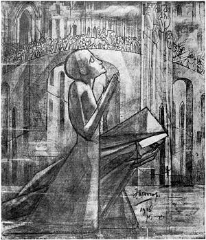 Het gebed op den Kruisweg. Jan Toorop, 1916. Publiek domein.